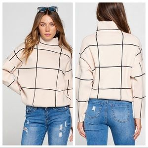 GRIDLOCK TURTLENECK KNIT SWEATER